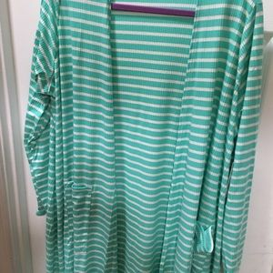 Lularoe Sarah XL Seafoam grn&white striped/ribbed